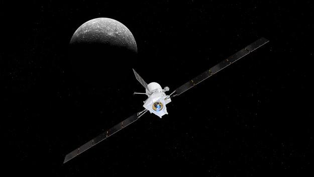 Concepção artística da BepiColombo chegando em Mercúrio.  (Foto: ESA)
