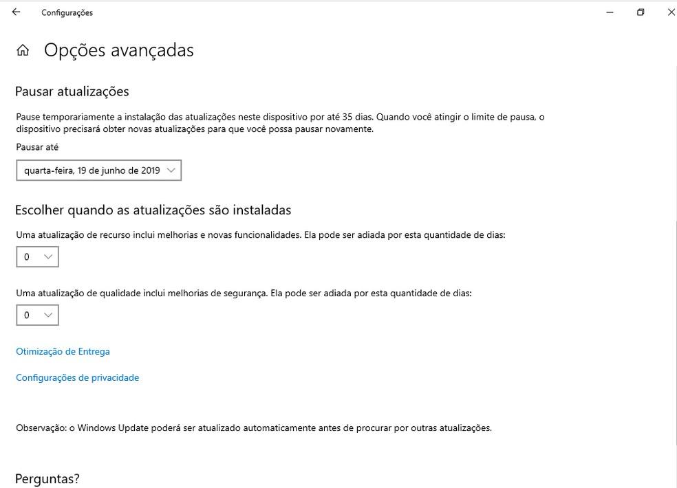 É possível configurar uma pausa nas atualizações do Windows — Foto: Reprodução/G1