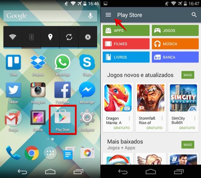 Abra o Google Play e acesse o menu do aplicativo (Foto: Reprodução/Helito Bijora)