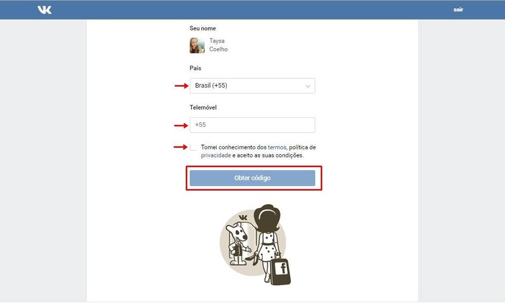 Cadastre smartphone para receber SMS com código de acesso do VK — Foto: Reprodução/Taysa Coelho