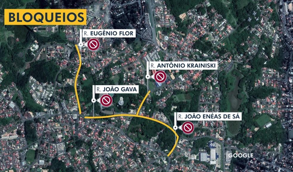 Mapa indica trechos das quatro ruas que terão bloqueios, neste sábado (31), devido ao show da dupla Sandy e Junior na Pedreira Paulo Leminski — Foto: Reprodução/RPC