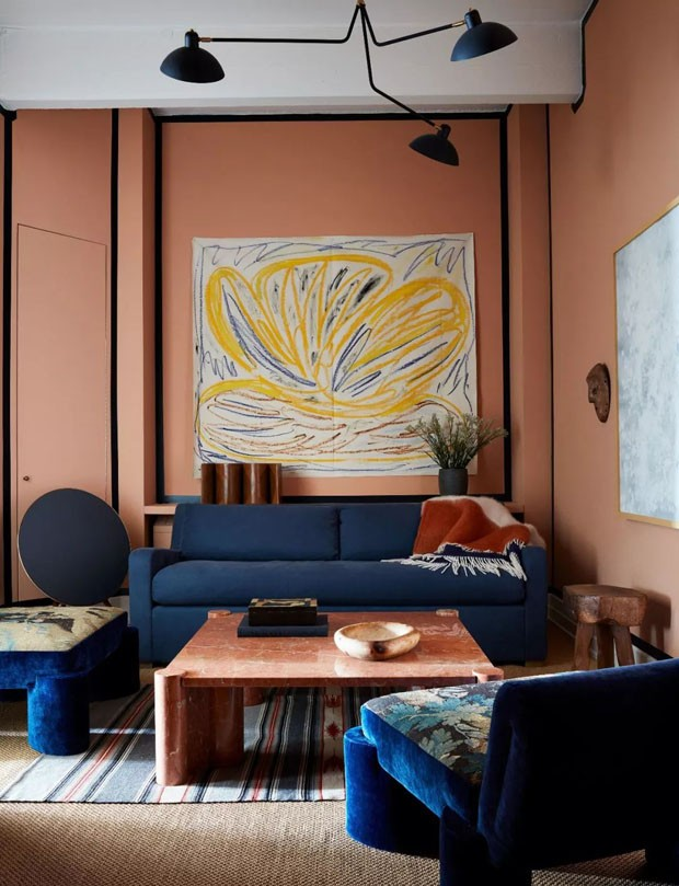 Décor do dia: sala de estar azul e rosa (Foto: Stephen Johnson)
