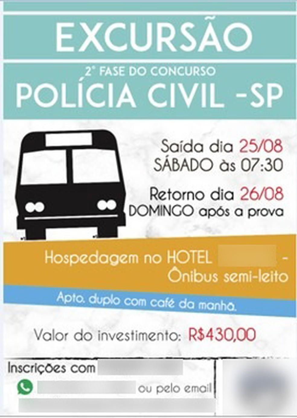 Empresa de ônibus teria oferecido transporte na data da prova antes que a Polícia Civil divulgasse o dia do exame. — Foto: Divulgação