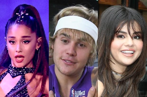 Ariana Grande, Justin Bieber e Selena Gomez (Foto: Getty Images)