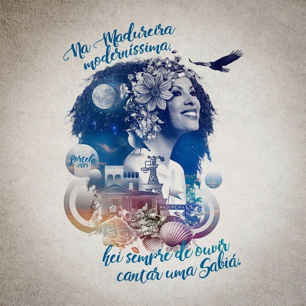 Logomarca do enredo criado pela escola de samba Portela em homenagem à cantora Clara Nunes — Foto: Portela / Instagram