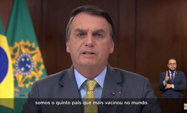 No seu pronunciamento em rede nacional na última terça-feira, Jair Bolsonaro tentou mudar narrativa sobre apoio do governo federal às vacinas contra a Covid-19