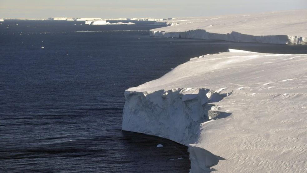 Geleira Thwaites, na Antártica — Foto: Getty Images/BBC