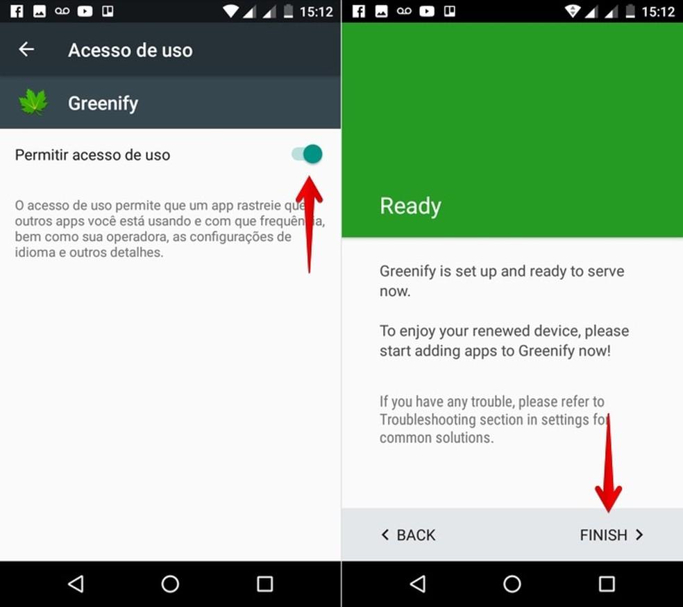 Finalizando configuração do Greenify (Foto: Reprodução/Helito Bijora)