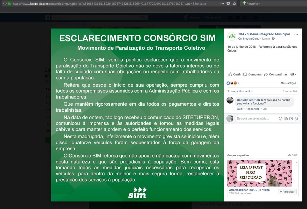 Consórcio divulgou nota na rede social (Foto: Facebook/Reprodução)