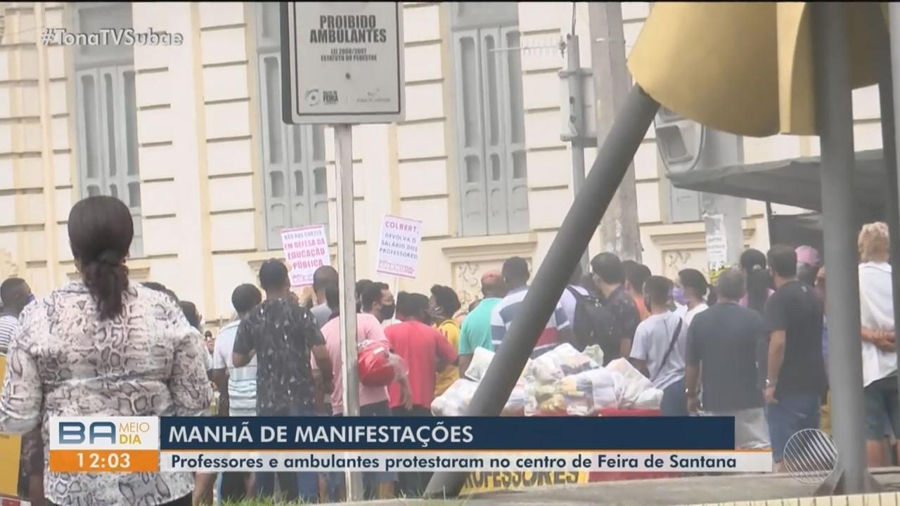 Terça-feira marcada por protesto de professores e ambulantes no centro de Feira de Santana