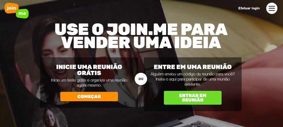 Join.me: plataforma permite criar videoconferências no navegador — Foto: Reprodução/Join.me