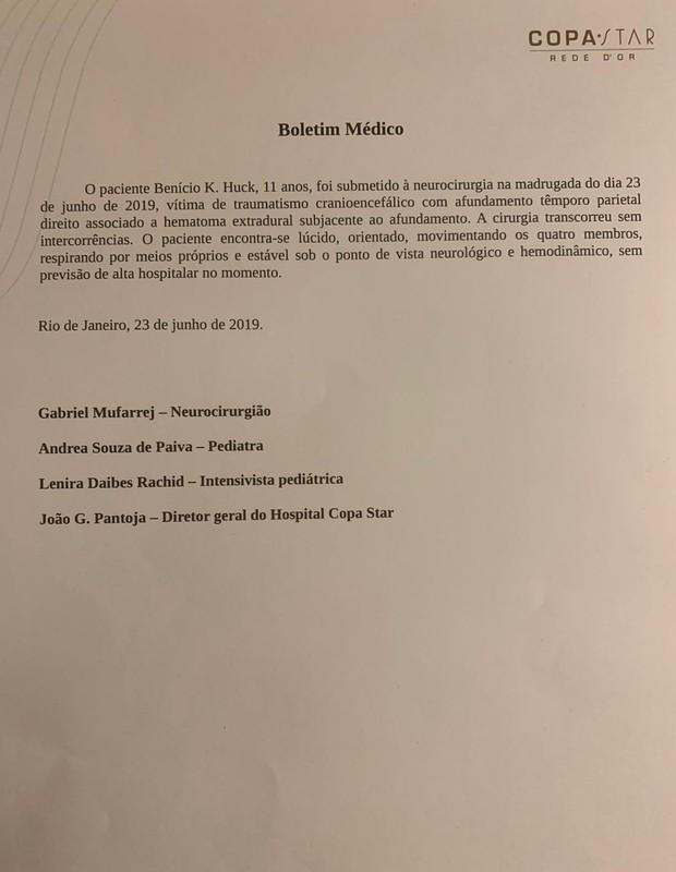 Boletim médico de Benício (Foto: Reprodução/Instagram)