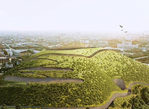 Cada hectare da montanha seria responsável pela absorção de 85 toneladas de CO2 por ano (Foto: Designboom/ Reprodução)