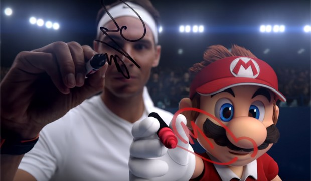 Rafael Nadal e Mario no trailer de Mario Tennis Aces (Foto: Reprodução/YouTube)