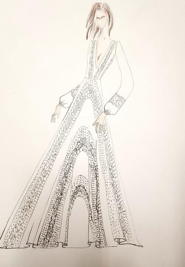 O croqui inicial do vestido Printing (Foto: divulgação)