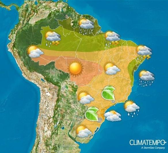 Mapa com a previsão do tempo para esta segunda-feira (5/7) no Brasil (Foto: Divulgação/Climatempo)