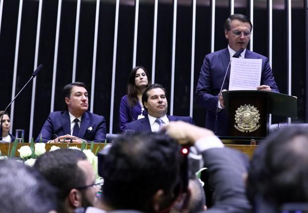 Jair Bolsonaro discursa durante cerimônia de posse, no Congresso Nacional (Foto: Cleia Viana/Câmara dos Deputados)