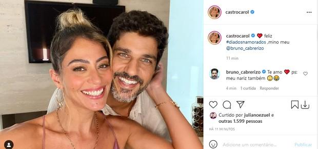 Carol Castro e o namorado, Bruno Cabrerizo (Foto: Reprodução/Instagram)