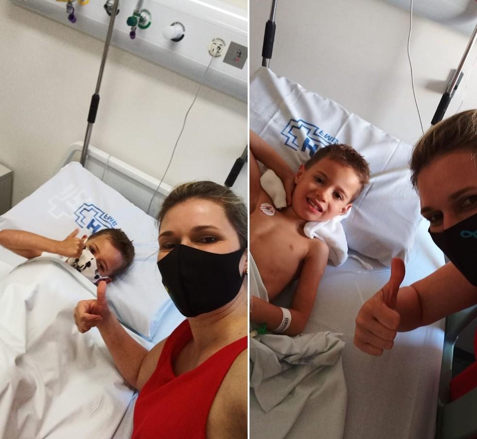 Thomaz precisou passar pela cirurgia de adenoide e retirada de amígdala no hospital em Botucatu — Foto: Gabriela Borges/Arquivo pessoal