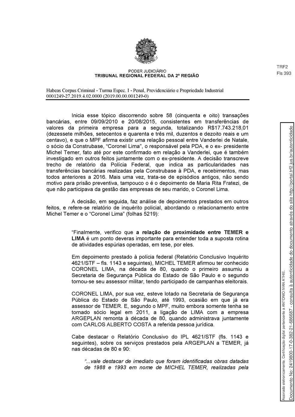 Decisão TRF 2 - pg 12 — Foto: Reprodução