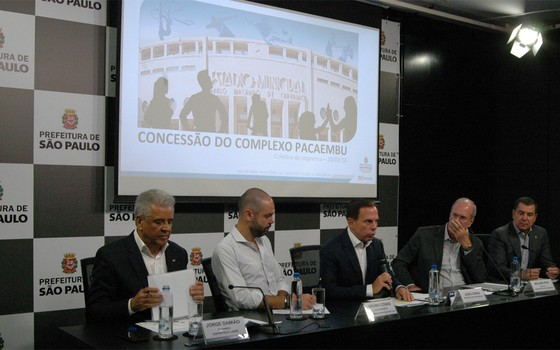 João Dória, prefeito de São Paulo, apresenta plano para a concessão do estádio Pacaembu (Foto: Divulgação)