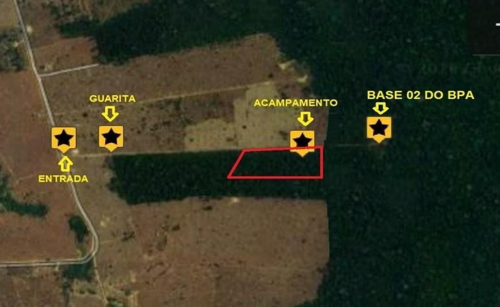 Mapa indica área que grupo de invasores tinha ocupado desde setembro — Foto: Sedam/Reprodução