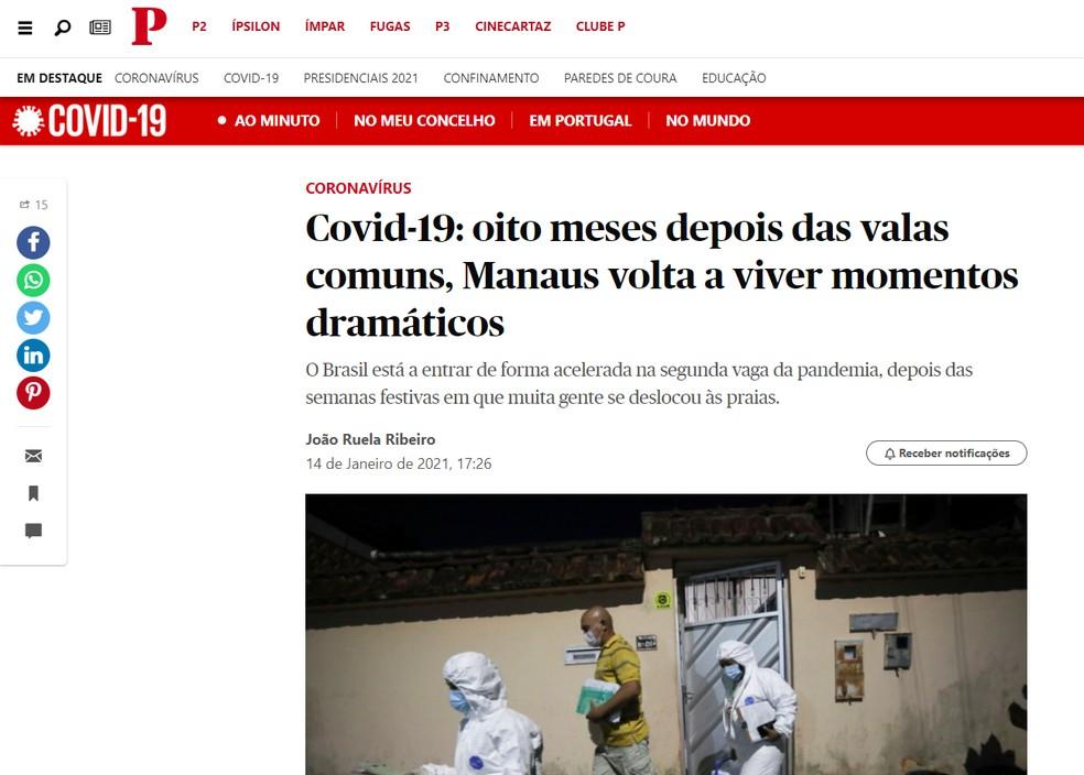 Público: imprensa internacional repercute caos nos hospitais de Manaus — Foto: Reprodução/publico.pt