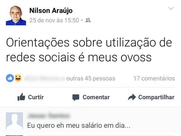 Capitão Nilson Araújo usou o Facebook para criticar a orientação da PM sobre o uso de redes sociais  (Foto: Reprodução/Facebook)