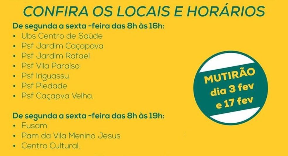 Vacinação em Caçapava; confira os locais (Foto: Prefeitura de Caçapava/Divulgação)