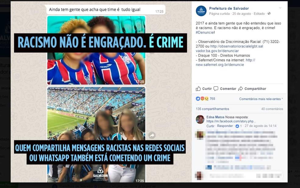 Montagem foi denunciada em postagem nas redes sociais da prefeitura de Salvador (Foto: Reprodução/ Facebook)