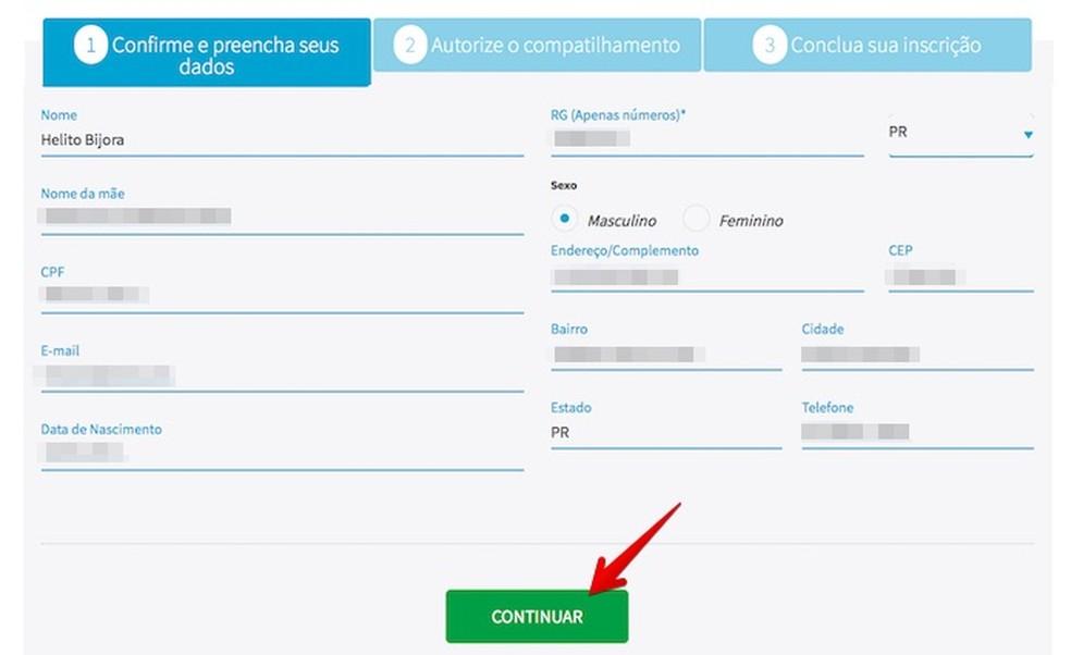 Confirme os seus dados pessoais e clique em continuar (Foto: Reprodução/Helito Bijora)