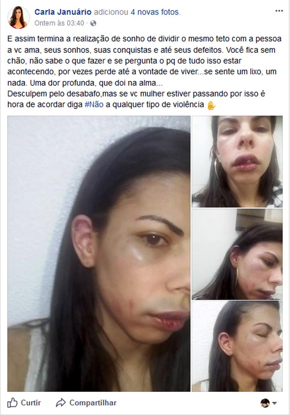 Mulher publicou relato de agressão no Facebook (Foto: Carla Januário/Reprodução/Facebook)