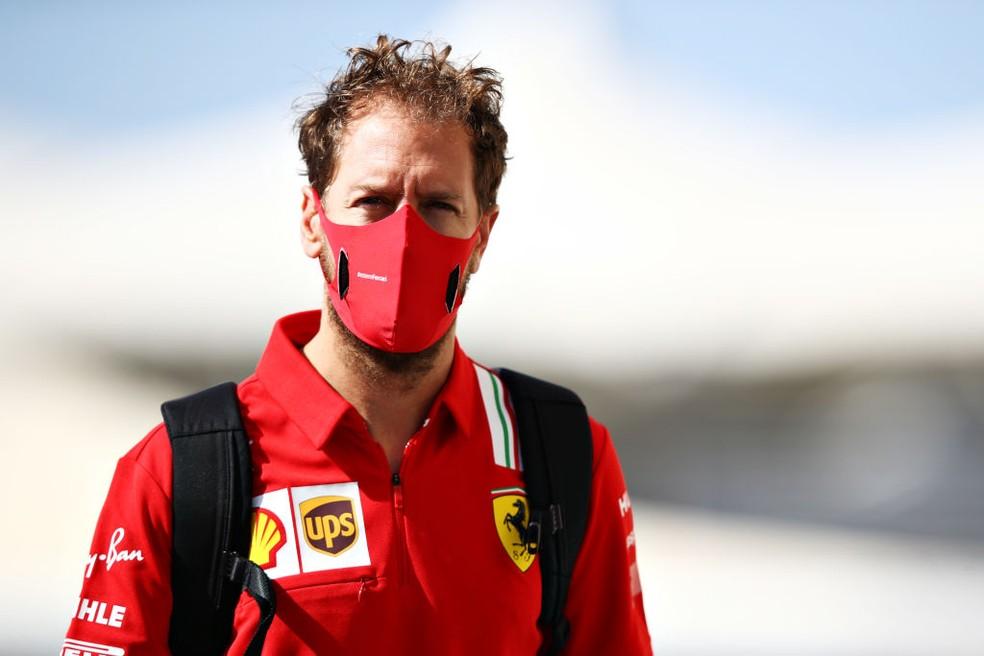 Sebastian Vettel durante o fim de semana do GP de Abu Dhabi de 2020 — Foto:  Mark Thompson/Getty Images