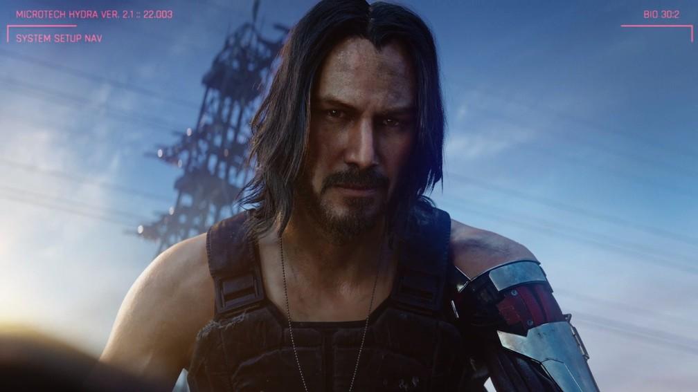 Keanu Reeves em 'Cyberpunk 2077' — Foto: Reprodução/YouTube/Xbox