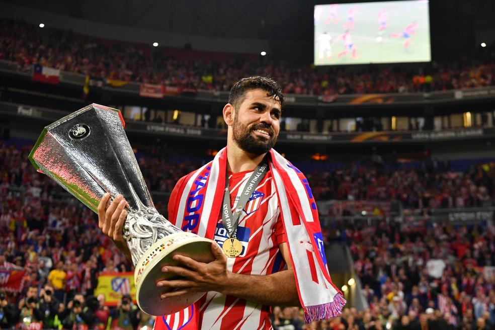 Diego Costa foi campeão da Liga Europa com o Atlético de Madrid  — Foto: Getty Images