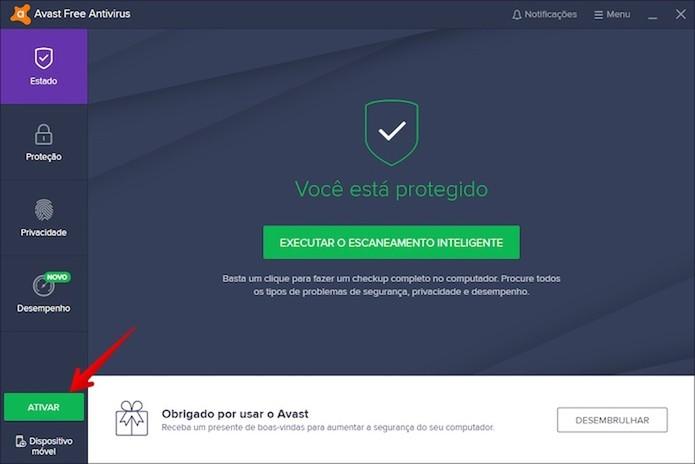 Ativando o Avast Internet Security (Foto: Reprodução/Helito Bijora)