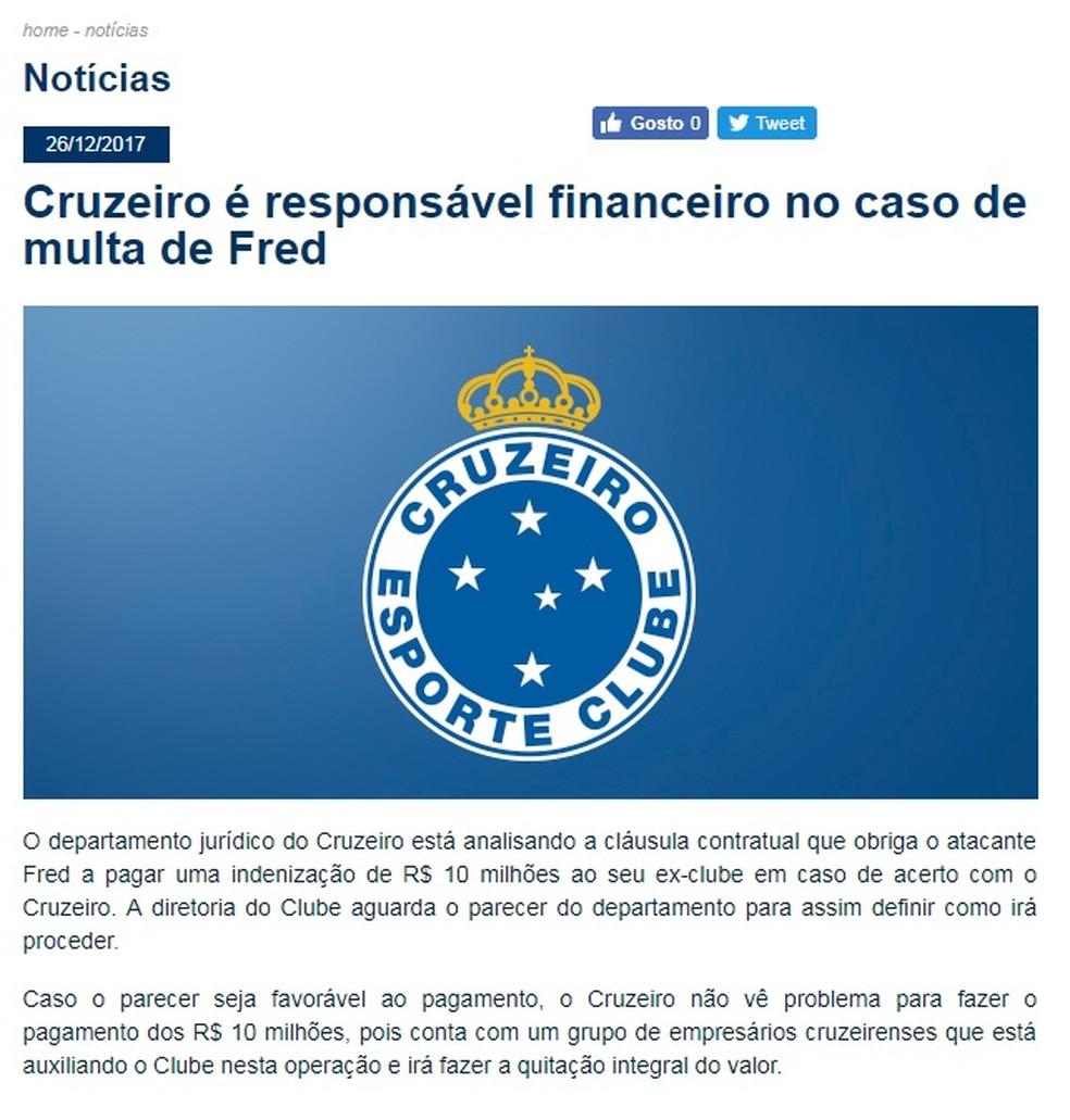 Cruzeiro publica nota oficial sobre multa por Fred (Foto: Reprodução/site do Cruzeiro)