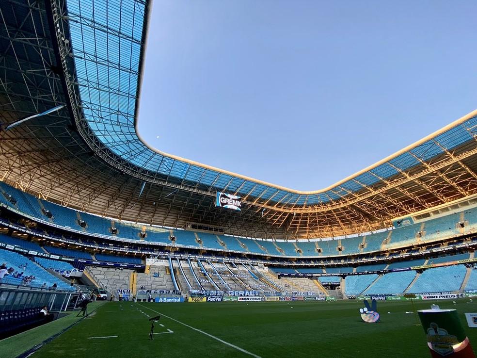 Clássico da próxima quinta-feira será disputado na Arena — Foto: Divulgação / Grêmio