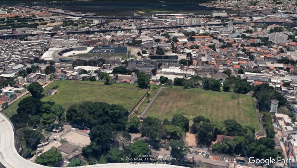 Área do Pedregulho para o projeto da Vila Olímpica do Vasco — Foto: Google Maps