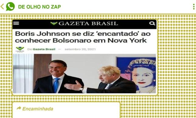 Encontro com o primeiro-ministro do Reino Unido, Boris Johnson, teve narrativa 'adaptada' por seguidores de Bolsonaro
