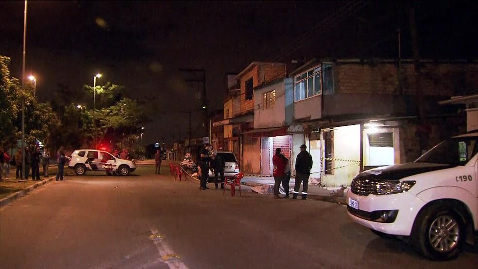 Cena do crime de chacina  (Foto: Reprodução/TV Globo)
