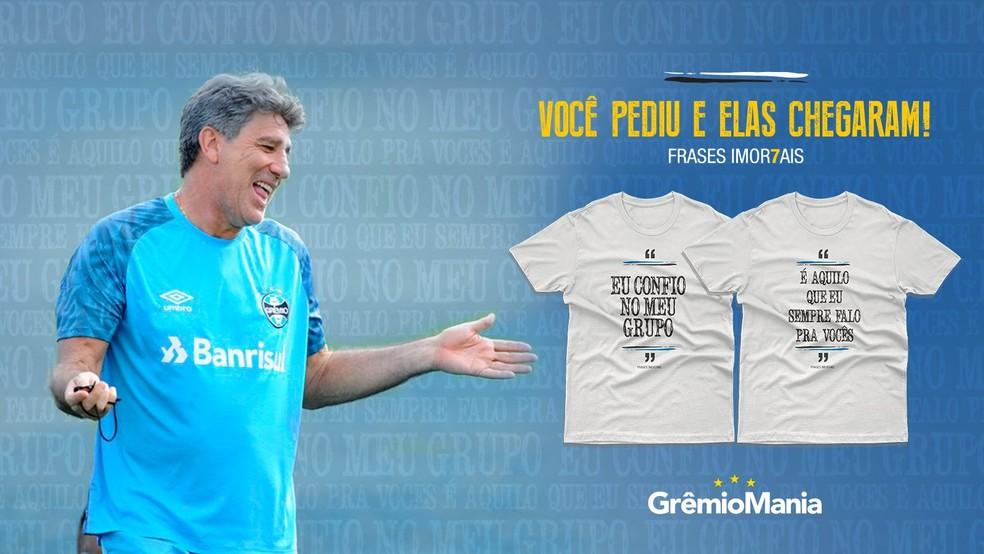 Grêmio lança linha de camisetas com frases de Renato — Foto: Reprodução