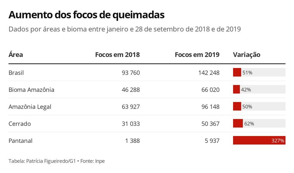 Aumento dos focos de queimadas entre janeiro e 28 de setembro de 2019 — Foto: Arte/G1