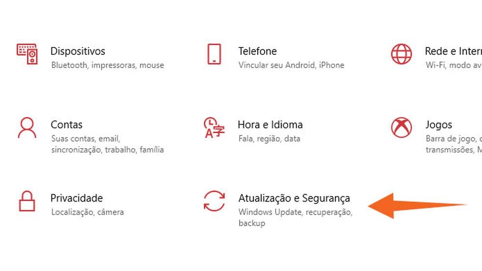 Abra o menu Atualização e Segurança nas Configurações do Windows 10 — Foto: Reprodução/Tais Carvalho