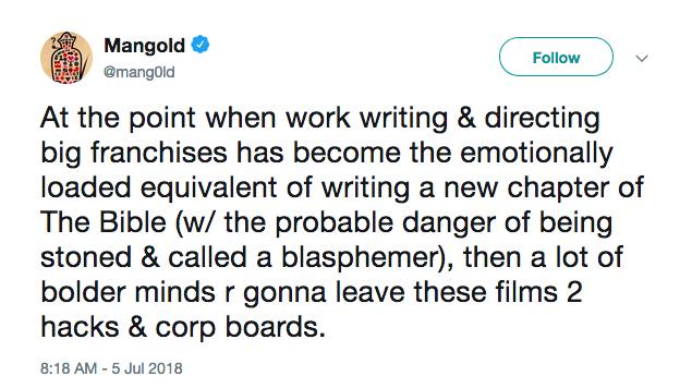 A crítica feita pelo cineasta James Mangold aos fãs da franquia Star Wars (Foto: Twitter)