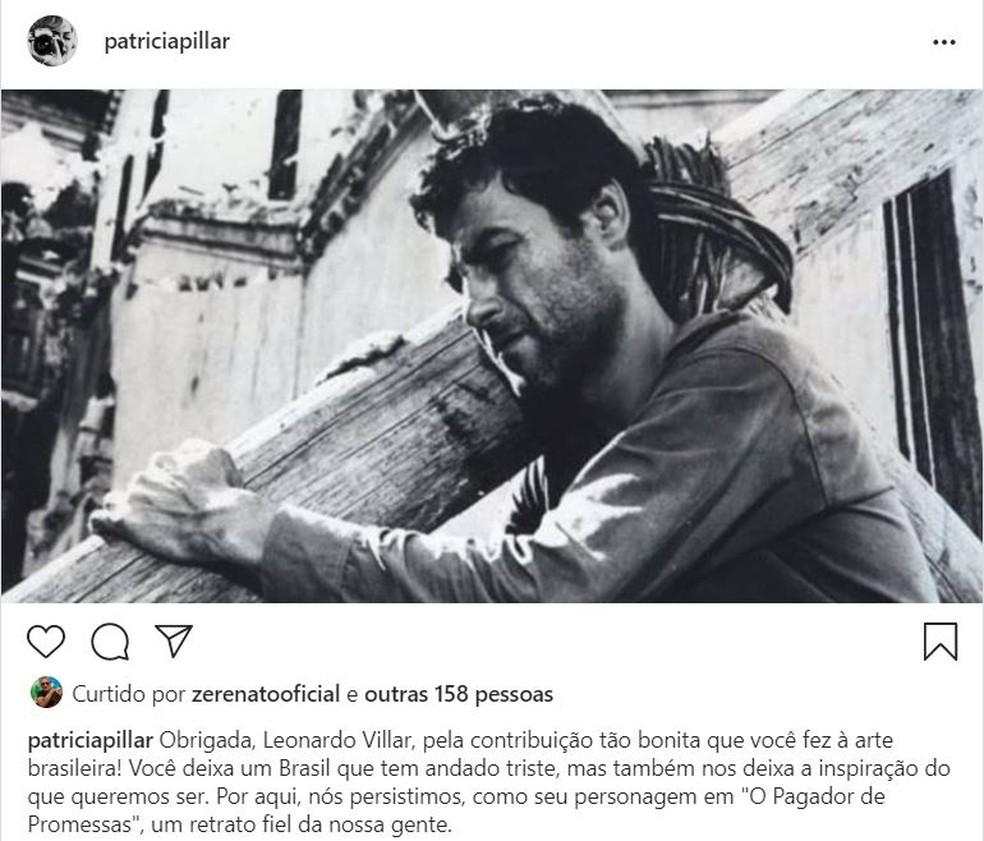 Patrícia Pillar postou homenagem para o colega de profissão — Foto: Reprodução/Instagram