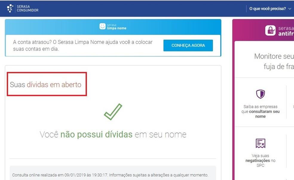 Site do Serasa Consumidor mostra dívidas ativas, caso usuário esteja irregular — Foto: Reprodução/Rodrigo Fernandes