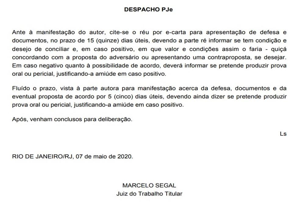 A manifestação do juiz quanto à oferta de acordo proposta por Nenê — Foto: Reprodução