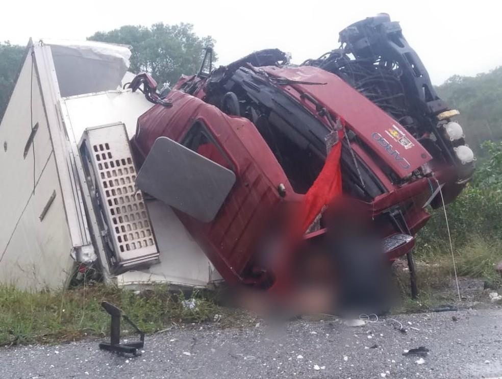 Após o acidente, caminhão ficou destruído na BR-402 — Foto: Ribamar Sousa