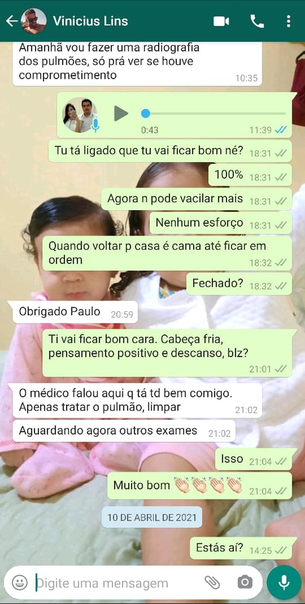 Última conversa entre Paulo Neto e Vinícius — Foto: Reprodução/WhatsApp